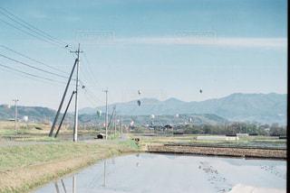 自然,空,カメラ,雲,青,気球,田舎,光,旅行,田んぼ,バルーン,フィルム,天気,おでかけ,フィルム写真,フィルムフォト