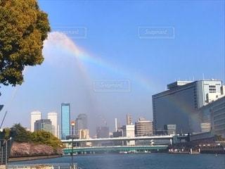 都市の桜と虹の写真・画像素材[2512201]