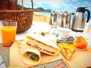 海,朝食,青空,沖縄,朝ごはん,オーシャンビュー,グランピング