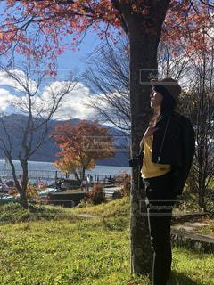 秋の中禅寺湖の写真・画像素材[1599888]