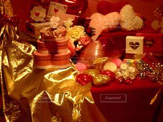 赤,プレゼント,ハート,箱