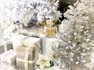 白,プレゼント,クリスマス,ツリー,ホワイト