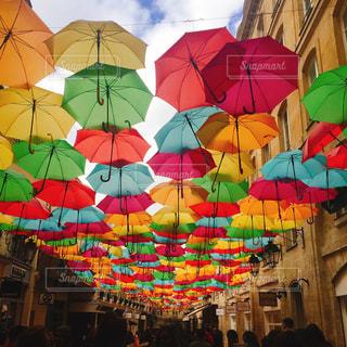 空,傘,カラフル,雲,アート,パリ,アーケード,色,アンブレラ,ファンシー