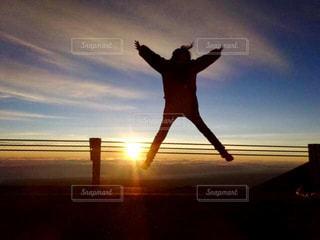 空,夕日,ジャンプ,アメリカ,観光,ハワイ島
