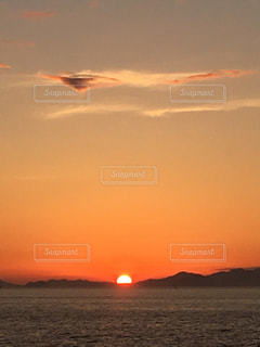 夕日,雲,夕焼け,伊予灘
