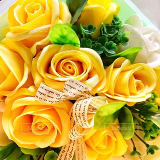 花束,黄色,薔薇,リボン,ソープフラワー