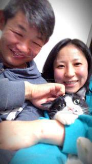 家族,猫,仲良し,笑顔,結婚,新居,すっぴん,新婚,ありのまま