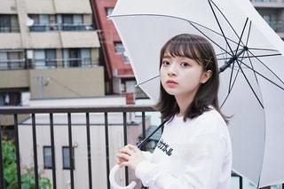 女性,20代,雨,傘,東京,かわいい,女の子,都会,屋上,朝,雨上がり,梅雨,ビニール傘,スウェット,SONY,フォトジェニック,ジャケ写風