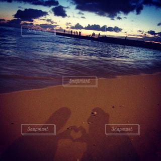 海,砂浜,手,ハート,旅行,Hawaii,ジェスチャー