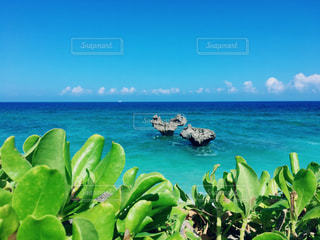 自然,海,青,沖縄,旅行,ブルー,古宇利島,ハートロック,お出かけ,ハート岩