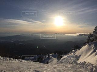 夕日,雪,山,スキー