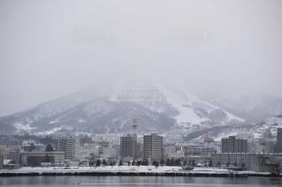 風景,冬,街並み,海岸,北海道,山,波止場,小樽市