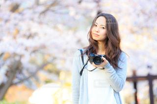 女性,花,春,カメラ,桜,ロングヘア,お花見,Spring,受賞