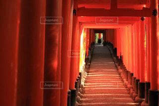 近くに赤いドアのアップの写真・画像素材[767613]
