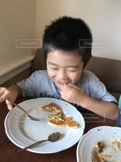 パンケーキ,笑顔,男の子,完食