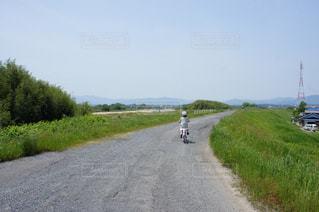 風景,空,自転車,堤防,女の子,少女,人物,土手,小学生,サイクリング