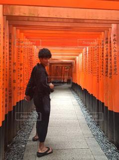夏,京都,観光,浴衣,旅行,伏見稲荷,カメラ男子