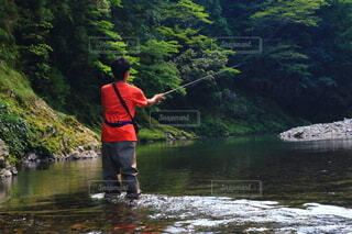 渓流釣りの写真・画像素材[3763870]