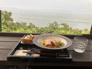 海,空,絶景,食事,雲,テーブル,パスタ,眺め,絶景ポイント,たらそ