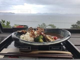 海,空,絶景,食事,雲,テーブル,眺め,絶景ポイント,たらそ