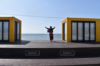 海,空,海辺,黄色,海岸,人物,人