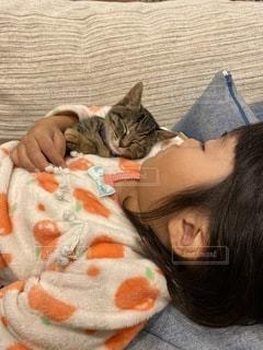 猫を抱いた小さな女の子の写真・画像素材[3374898]