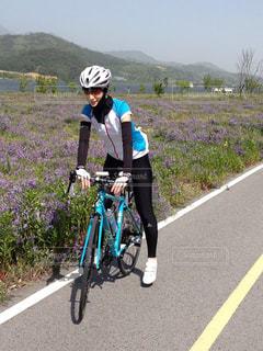 春,自転車,花畑,サイクリング,ロードバイク