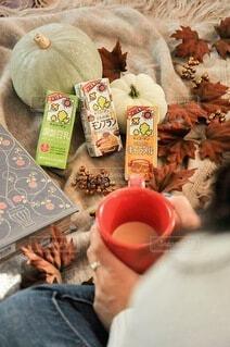 秋,足,人,マグカップ,かぼちゃ,まったり,豆乳,ホッ豆乳,調製豆乳,豆乳飲料モンブラン,豆乳飲料キャラメル