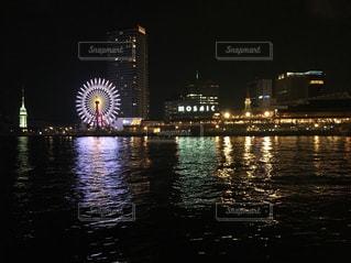 夜,観覧車,イルミネーション,港,モザイク,神戸,ハーバーランド