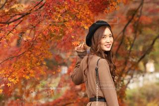 ツリーの前に立っている女性の写真・画像素材[1637967]