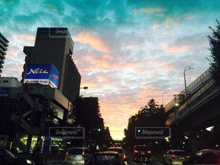 夕暮れ,街,道,日本,名古屋,渋滞