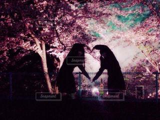 春,桜,夜桜,ハート,青春,親友,♡,はーと,♥,高校3年生の時の写真,女子高