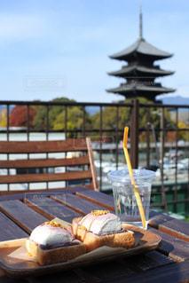 食べ物,カフェ,空,秋,紅葉,屋外,京都,綺麗,景色,観光,トースト,旅行,東寺,マシュマロ,テラス席,11月,秋色