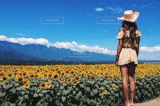 黄色の花の前に立っている女性の写真・画像素材[1136068]