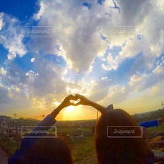 空,夕日,青空,サンセット