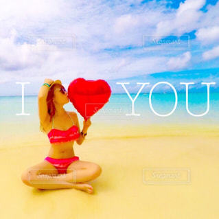 海,夏,海外,南国,ビーチ,水着,風船,麦わら,ハート,旅行,グアム,バルーン,GUAM