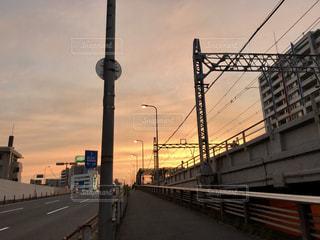 空,夕日,大阪,雲,綺麗,都会,梅田,夕陽,線路沿い,阪急電車