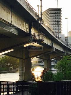 風景,空,建物,橋,屋外,大阪,綺麗,夕焼け,道路,川,オレンジ,高速道路,夕陽,西天満