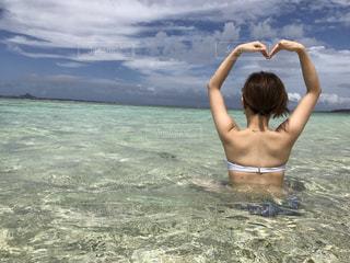 自然,海,夏,太陽,青空,青,砂浜,沖縄,ハート,旅行,女子旅,瀬底ビーチ