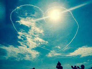 空,青空,飛行機,ハート,飛行機雲,航空,マーク,自衛隊航空機