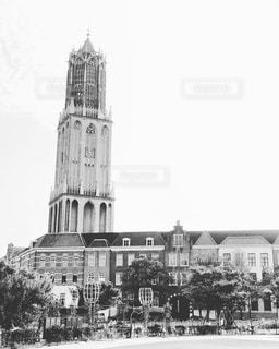 時計塔の白黒写真の写真・画像素材[3012861]