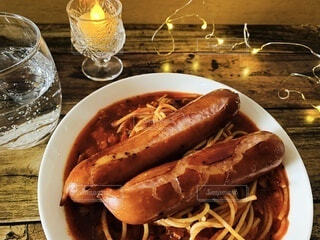 食事,パスタ,肉,料理,夕食,ソーセージ,ジューシー,スパゲッティ,ボリューム,ウィンナー,ジョンソンヴィル