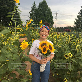 黄色い花を持っている手の写真・画像素材[1386453]