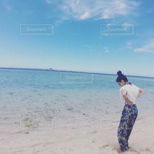 ビーチでフリスビーを投げ男の写真・画像素材[1314532]