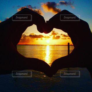 海,夕日,夕焼け,オレンジ,ハート,旅行,カンクン,思い出,heart,メキシコ