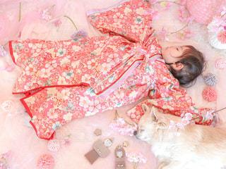 十二単衣を着た我が家の姫と愛犬のお内裏様はお昼寝中の写真・画像素材[3009246]