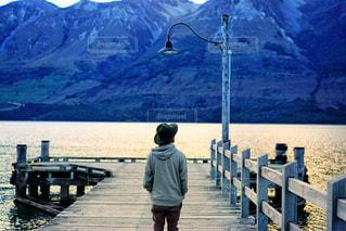 風景,湖,海外,後ろ姿,山,ニュージーランド
