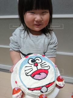 ケーキ,子供,女の子,生クリーム,手作り,ドラえもん,3歳