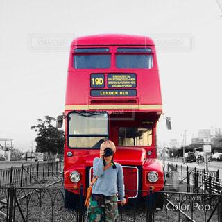赤い 2 階建てバスの写真・画像素材[1710251]
