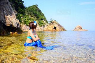 海,空,夏,ビーチ,水着,可愛い,ハッピー,マーメイド,人魚